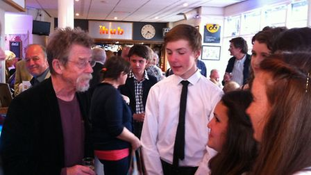 John Hurt talks to young movie fans at the Sheringham Little Theatre cinema launch