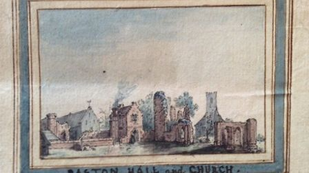 A watercolour engraving of the old Paston Hall , found in a private archive in Norfolk. It is the fr