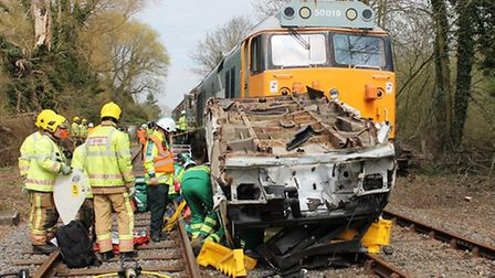 Scores of emergency services workers take part in the Exercise Mardle training in Wymondham