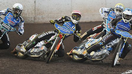 Stars (1) Niels-Kristian Iversen and (6) Seb Alden with Pirates' (L) Darcy Ward on turn one. Picture