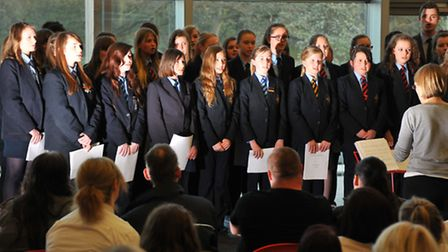 Flegg High School pupils take part in the Rotary Club of Norwich Inter Schools Choir Competition at