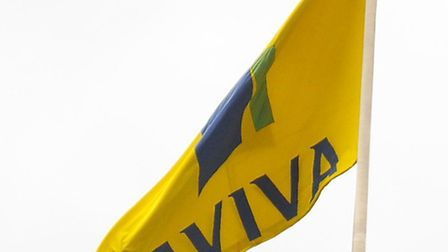 The Aviva flag pointing downwards after job losses were announced yesterday <Thurs>. Picture: Denise