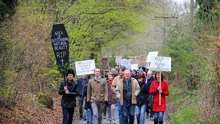 Peaceful protest walk against the access to the proposed woodland burial site at Aylmerton. PHOTO: A