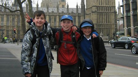 Douglas Aitken, Sam Pyne and Harry Shipton on their visit to the Houses of Parliament, which they wo
