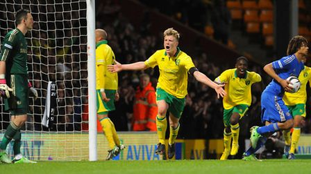 Norwich City's under-18s captain Cameron McGeehan celebrates scoring his first-leg stoppage time pen