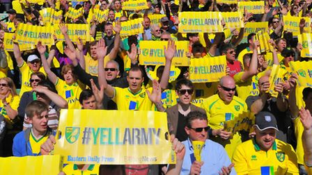 The Canary faithful make some noise before the game. Picture: Steve Adams