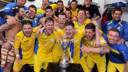 Action from King's Lynn Town v Sheffield at The Walks - Lynn Town celebrate in the dressing room aft