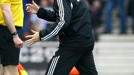 Stoke manager Tony Pulis was his usual vocal self against Norwich City. Picture: Paul Chesterton / F