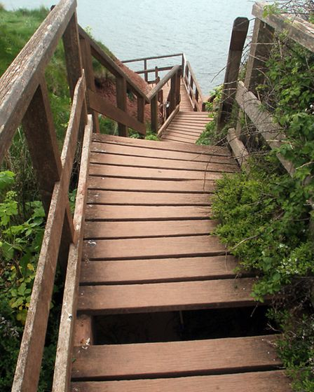 Damaged steps at Orcombe Point leading to Rodney Bay. Picture by Alex Walton. Ref exe 1629-19-13AW