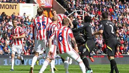 Robert Huth out jumps Grant Holt to win a header. Picture: Paul Chesterton / Focus Images