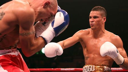 Anthony Ogogo (right) in action during his victory over Kieron Gray.