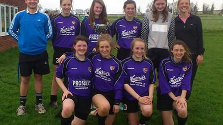 Exmouth Community College's under-16 girls football team, who won the Devon County Cup.