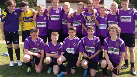Exmouth Community College's under-13 boys football team, who won the Devon Cup