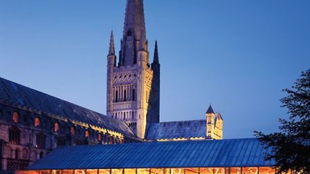 Norwich Cathedral's Hostry at night. Photo: Paul Tyagi.The cathedral will host the Hostry Festival i