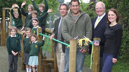 Woodbury C of E Primary School's newest pieces of play equipment were officially opened this week by