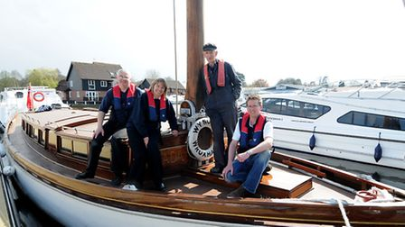Wherry Norada arrives at Norfolk Broads Direct in Wroxham for the On The Water Festival. Left to rig