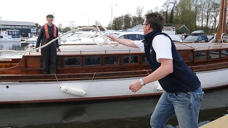 Wherry Norada arrives at Norfolk Broads Direct in Wroxham for the On The Water Festival. Skipper of