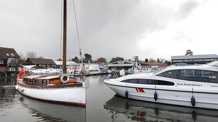Wherry Norada arrives at Norfolk Broads Direct in Wroxham for the On The Water Festival. PHOTO: ANTO