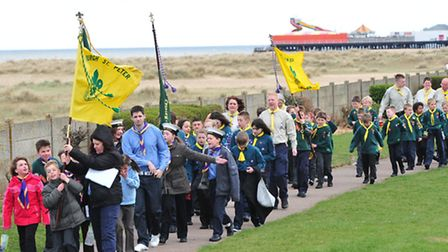 Scouts from the Yarmouth area parade along North Drive, Yarmouth for St George's day.