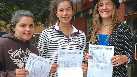 Exmouth Community College students delighted with their A-level results: (from left) Chelsea Bastone