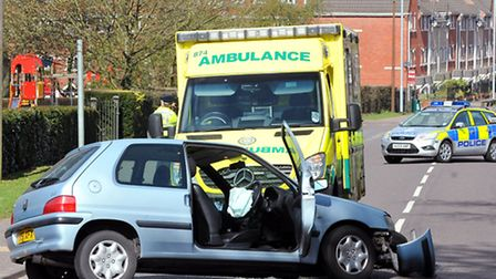 Scene of the collapsed car accident in Drayton Road, Norwich. Photo: Bill Smith