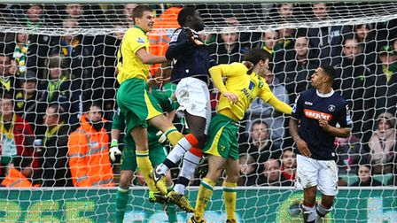 Ryan Bennett clears a moment of danger during the Canaries' shock FA Cup exit to Luton at Carrow Roa