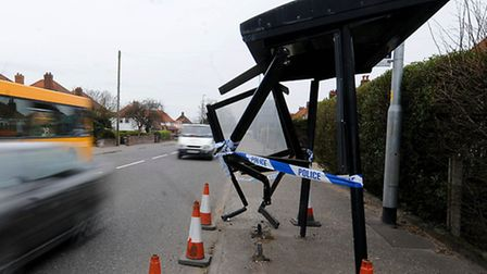The bus shelter on Cromer Road, Norwich, after a car ran into it.PHOTO: ANTONY KELLY