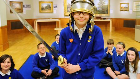 Schoolchildren studying Latin learn about the Romans at Norwich Castle. Annabel Smeaton, 11, from Mu