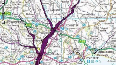 The River Axe flood risk area highlighted in purple. Crown copyright 2013 ordnance survey media 09