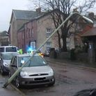 A lamppost blew over onto a car in St Andrews Road in windy conditions yesterday (Monday).