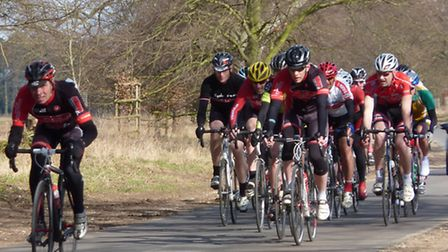 Phil Hargreaves (left) and VC Norwich club-mate Glyn Thomas at the front of the bunch in the race fo