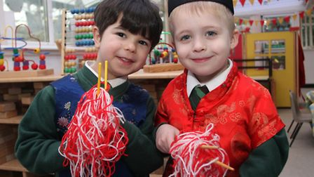 These reception class pals at Withycombe Raleigh primary school try picking up some 'noodles' with t