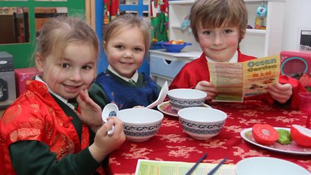 Reception children at Withycombe Raleigh primary school in their Chinese restaurant in celebrations