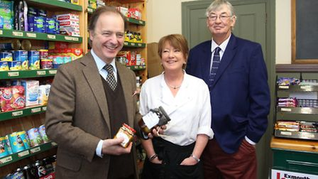 Licensees Jeff White and Kate Knight are pictured with MP Hugo Swire in the shop in the Britannia In
