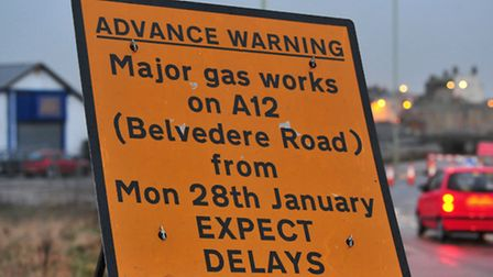 Gas works on Belvedere Road, Lowestoft are taking place.