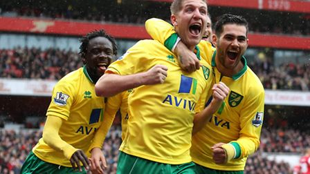 Michael Turner celebrates giving Norwich City a 1-0 lead at Arsenal. Picture: Paul Chesterton / Focu
