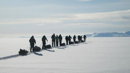 42F Squadron Air Training Corps cadets and officers making their way across Langjökull glacier in Ic