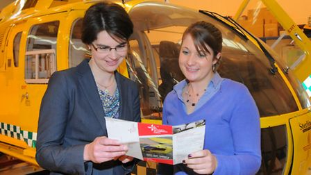 MP Chloe Smith joined East Anglian Air Ambulance apprentice Natalie Cotton to draw the East Anglian