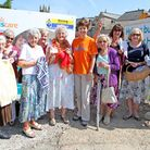 The Woolly Wednesday Knitting Group showed their supprot for the new Honiton Hospiscare build. Pictu