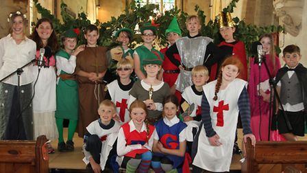 Children from Otterton primary are pictured in rehearsals for their end of term production: Robin an