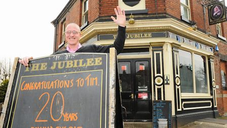 Landlord Tim Wood has clocked up 20 years at the Jubilee pub in Norwich, and has commissioned a spec