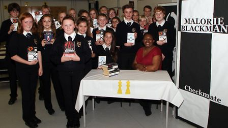 Children's Laureate 2013–15, Malorie Blackman, gave a talk to students at Exmouth Community College.