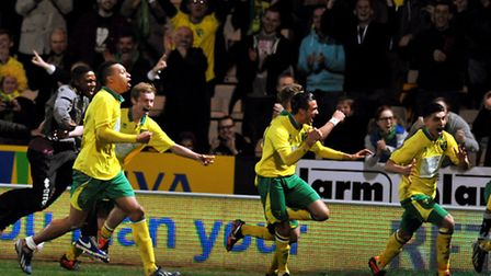 Norwich City Under-18s celebrate reaching the FA Youth Cup final. Picture: Bill Smith