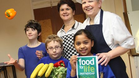 Littleham School has gained a Food For Life award and pictured with students Max Ben and Megha are k