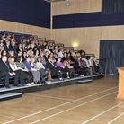 Principal Jason Wing talking to the teachers at the official opening of the Neale Wade Academy, in M