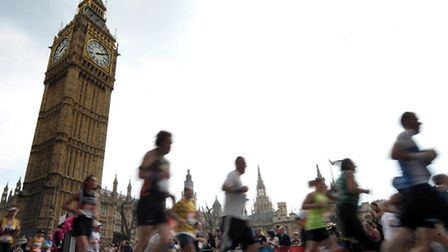 File photo dated: 17/04/2011 of Competitors running past the Houses of Parliament during the 2011 Lo