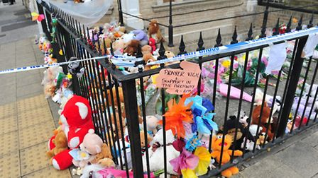 Flowers and soft toys at the scene of the death of three children on the corner of Grosvenor road and London road South...