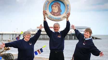 Volunteers from The Henry Blogg Museum, Cromer, left to right, Vicky Brooker, John Blake and Sue Bla