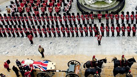 The coffin bearing the body of Baroness Thatcher arrives at St Paul's Cathedral, central London for