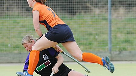 A last ditch challenge by Pelicans' Tracy Bower in their match against St Albans. Picture: Ian Burt